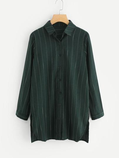 Side Slit Striped Shirt Dress