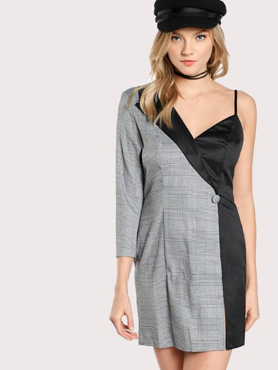 Checkered Contrast One Shoulder Dress BLACK