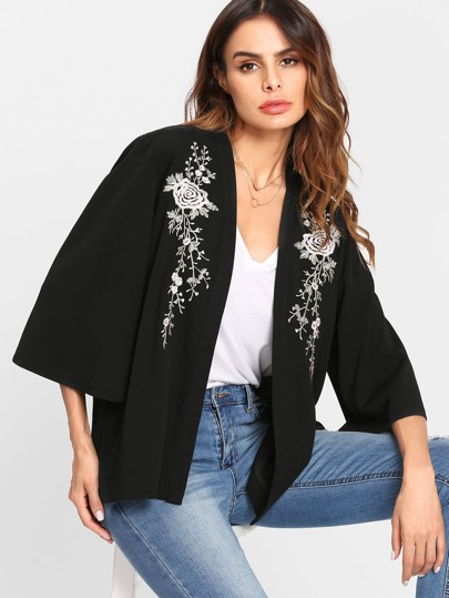 Botanical Embroidery Open Front Coat