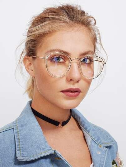 Gafas estilo ojo de gato con montura transparente