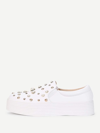 Studded & Faux Pearl Detail PU Sneakers