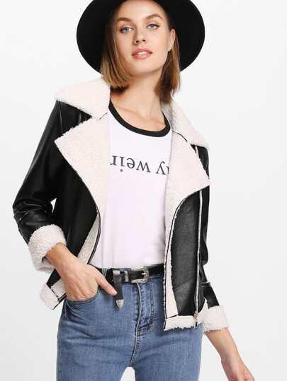 Contrast Faux Shearling Biker Jacket