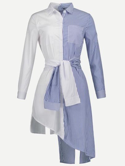 Contrast Striped Asymmetric Hem Shirt Dress