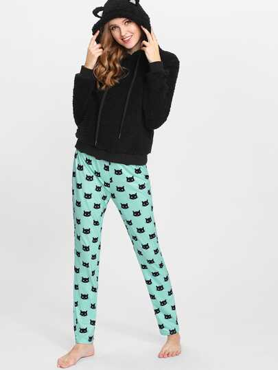 Esnsemble de Pyjama encapuchonné avec fourrure fausse & Pantalons