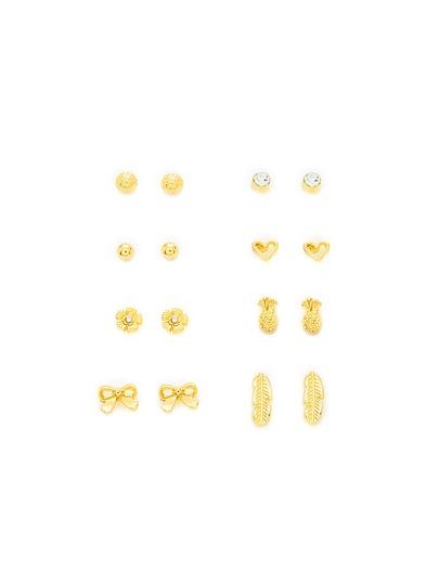 Bow & Leaf Design Earring Set