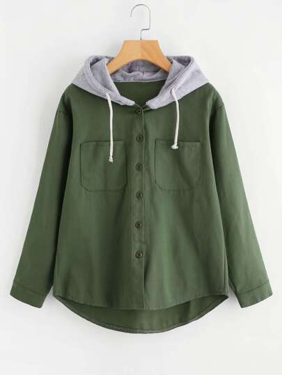 Drawstring Hooded Denim Jacket