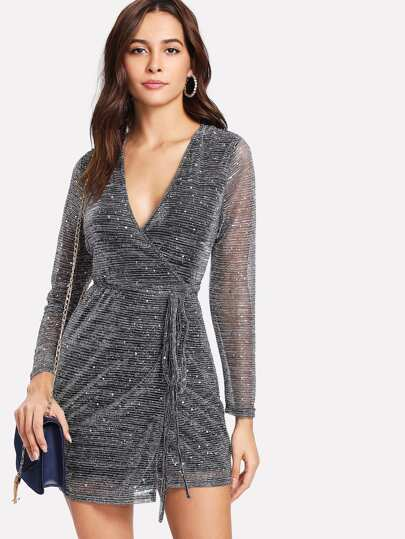 Sequin Detail Glitter Mesh Wrap Dress