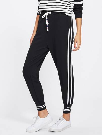 Side Striped Drawstring Waist Sweatpants