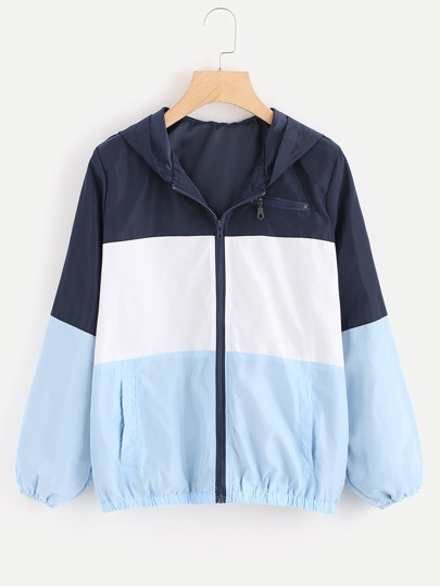 Cut And Sew Color Block Hooded Jacket