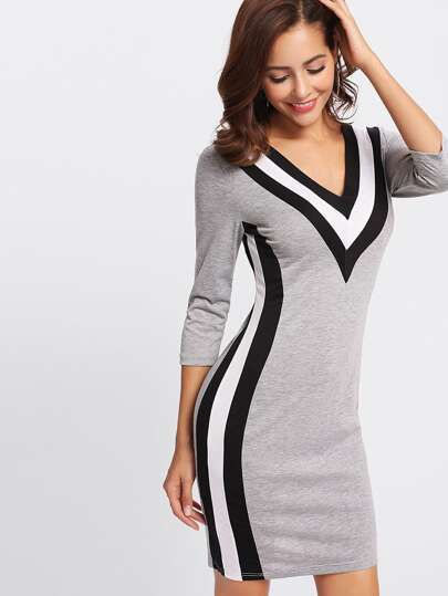 V-neckline Stripe Trim Sheath Dress
