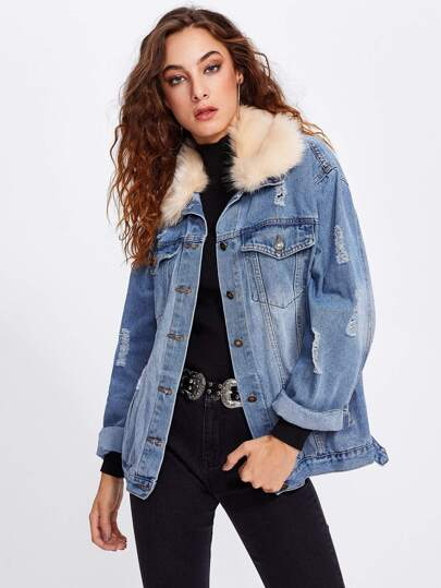 Contrast Faux Fur Collar Ripped Detail Jacket