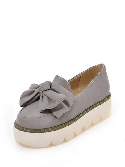 حذاء نسائي-بنعل عريض بعقدة انشوطة