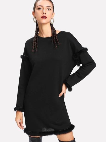 Faux Fur Detail Solid Dress