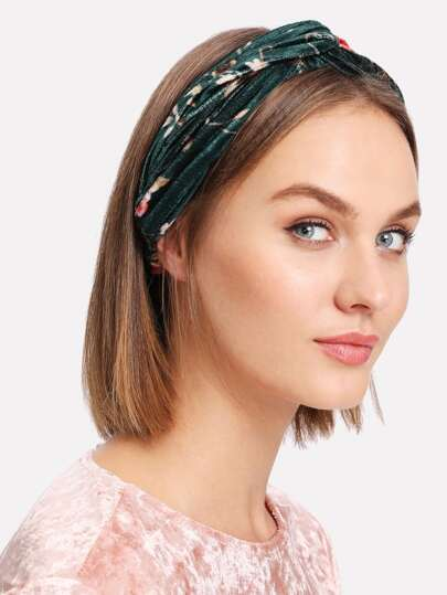 Samt Stirnband mit Kattun und Twist
