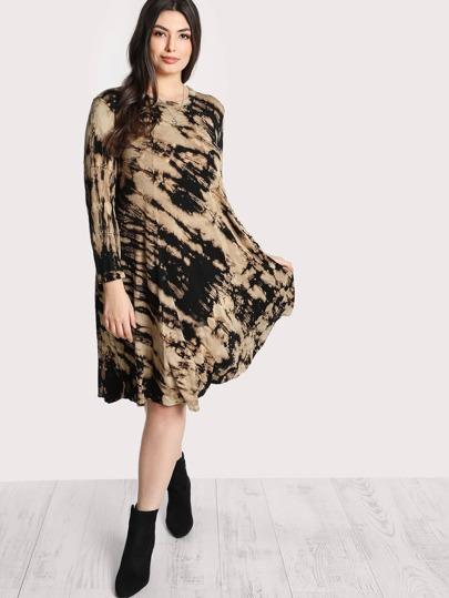 Marbled Drop Sleeve Tunic Dress BLACK BROWN