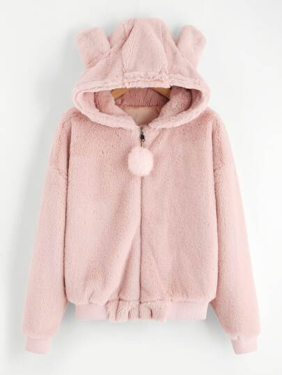 Faux Fleece Pom Pom Ear Detail Hoodie Jacket