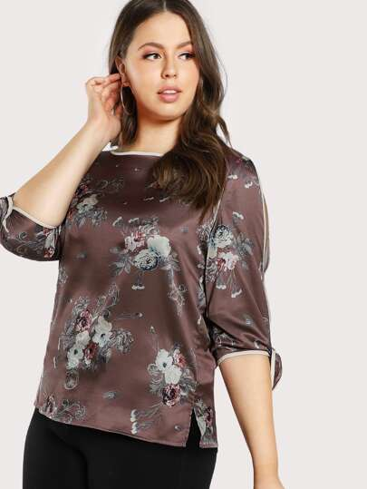 Contrast Binding Split Sleeve Floral Top