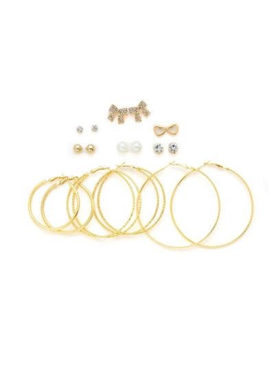 Bow &  Hoop Design Earring Set