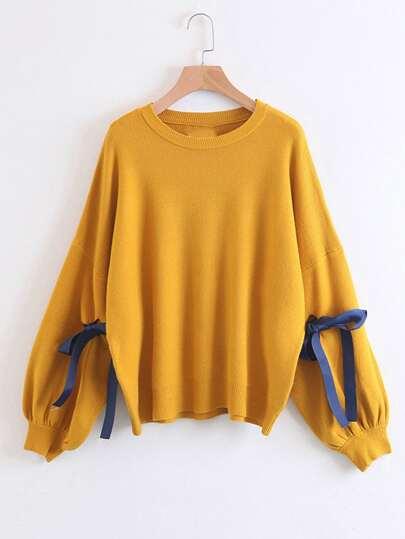 Suéter extragrande con lazo para atar