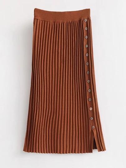 Falda de punto con botón en la parte lateral