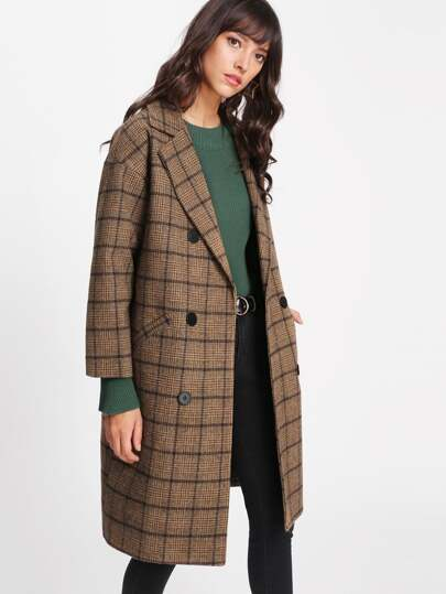Glen Plaid Double Breasted Coat