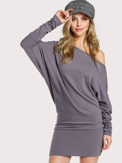 Slouchy Quarter Sleeve Dress AMETHYST