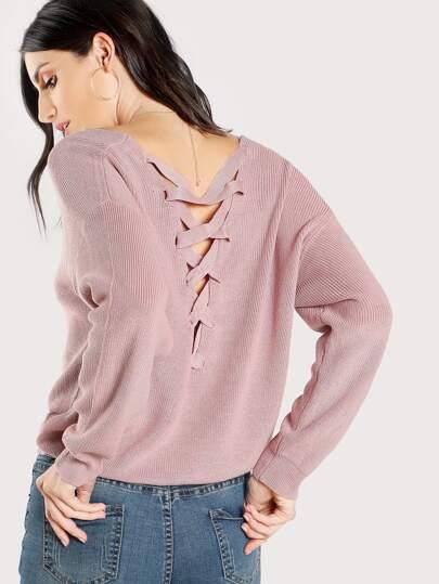 Pullover mit Kreuzgurte hinten
