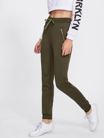 Elastic Hem Drawstring Waist Zip Detail Pants