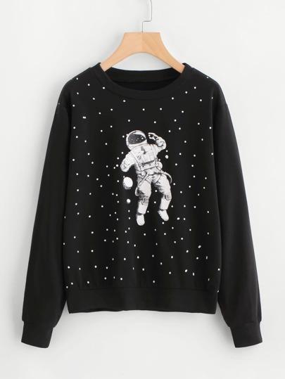 Astronaut Print Sweatshirt