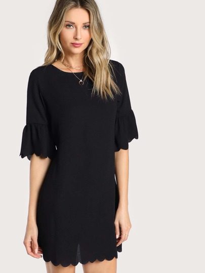 Bell Sleeve Scallop Trim Dress