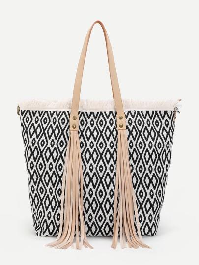 Tassel Detail Geometric Pattern Tote Bag