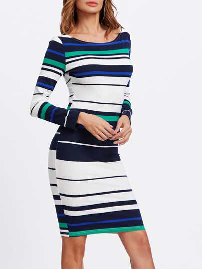 Exposed Zip V Back Striped Dress