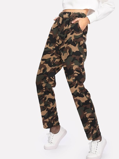 Faux Fleece Lined Camo Sweatpants