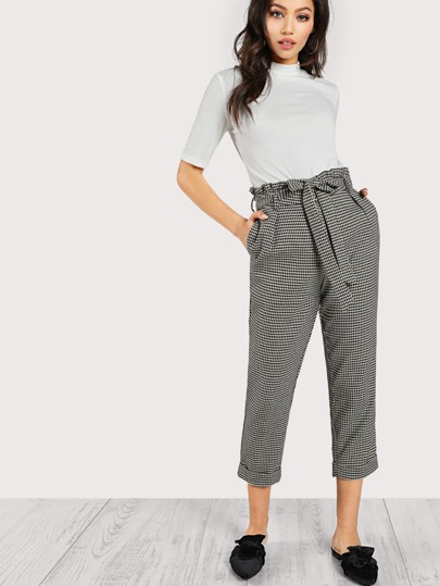 Pleated Waist Houndstooth Print Pants BLACK TAUPE