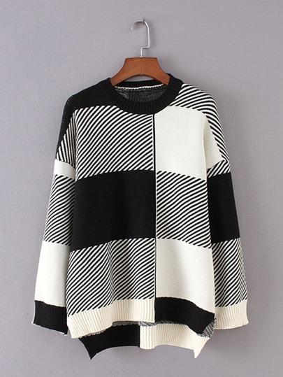 Suéter asimétrico de cuadros