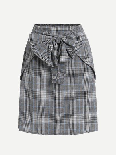 Модная клетчатая юбка с бантом