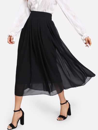 Falda de gasa con cintura elástica
