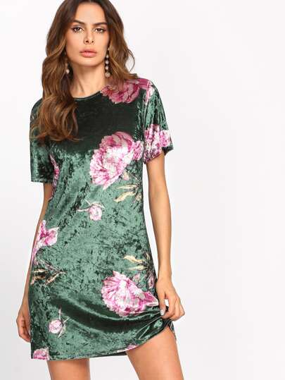 Floral Crushed Velvet Dress