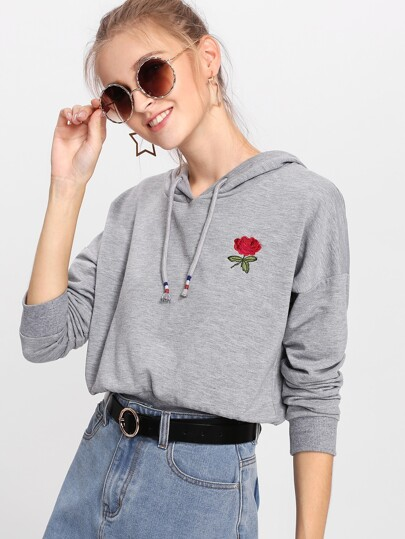 Hoodie mit sehr tief angesetzter Schulterpartie und Rose Stickereien