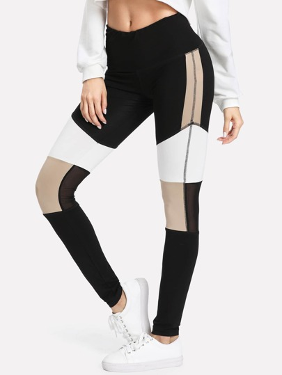 Leggings a inserti in tessuto