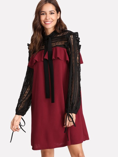 Two Tone Lace Sleeve Ruffle Dress