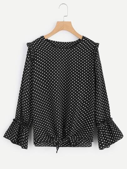 Frill Trim Knot Front Polka Dot Top