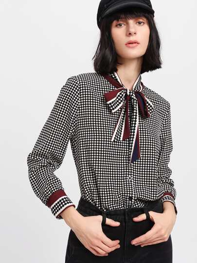 Mixed Print Tied Neck Plaid Blouse