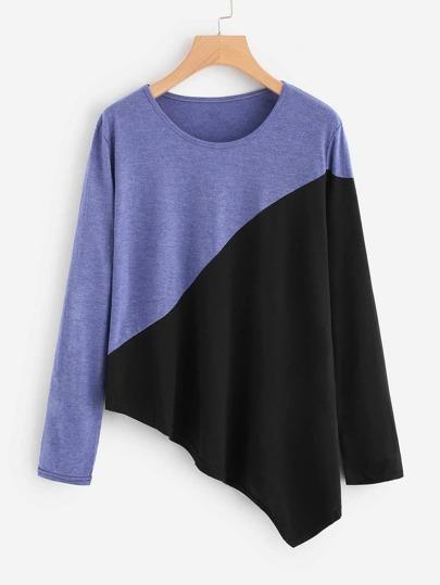 Camiseta con costura y bajo asimétrico