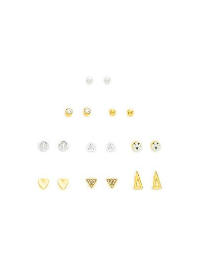 Heart & Triangle Design Earring Set