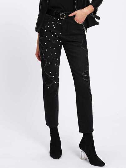 Pearl Beading Shredded Jeans