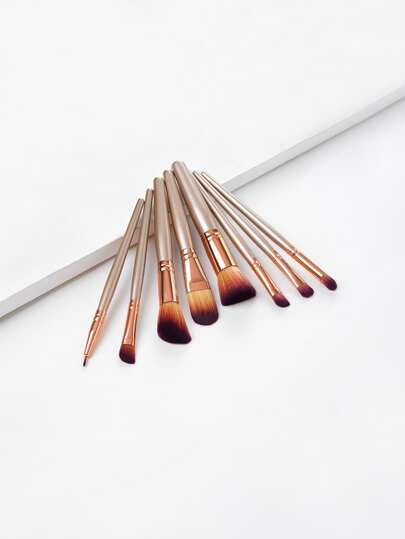 Metallic Handle Makeup Brush Set 8pcs