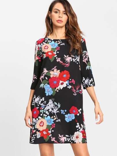 Vestido túnica con estampado de flor