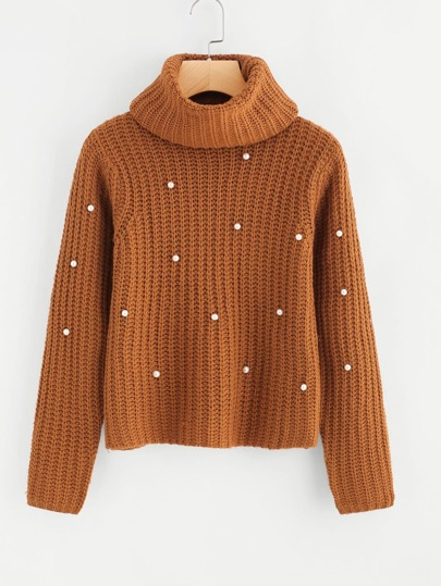Pearl Beading Chunky Knit Sweater