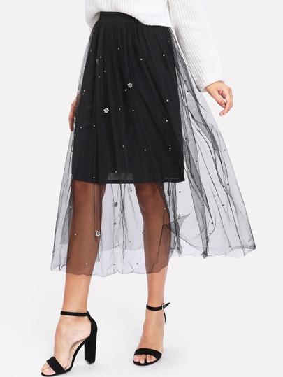 Модная юбка с бусинами